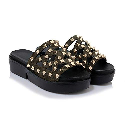 amp;X Women's Green nbsp; Chunky Qin nbsp;Flip Sandals Casual Flop Heel d6B5qOx