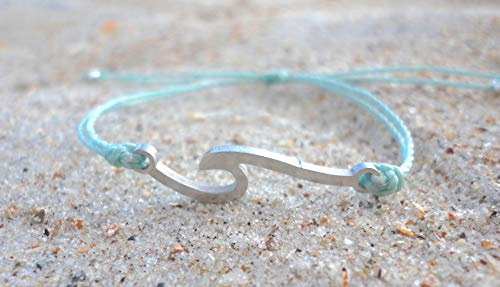 Wave Charm Bracelet-Adjustable Waterproof Wax Coated Bangle-Handcrafted with Ocean Wave-Stainless Steel Wave with Aqua thread