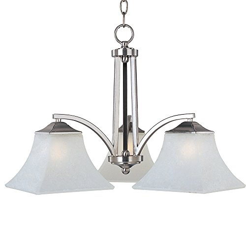 Lamps Plus Satin Chandelier (Maxim Lighting 20094FTSN Three Light Frosted Glass Down Chandelier, Satin)