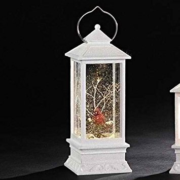 Roman White Lighted With Red Cardinal LED Lantern 11 Inch Acrylic Decorative Tabletop Snow Globe (Sale Lanterns For Red)