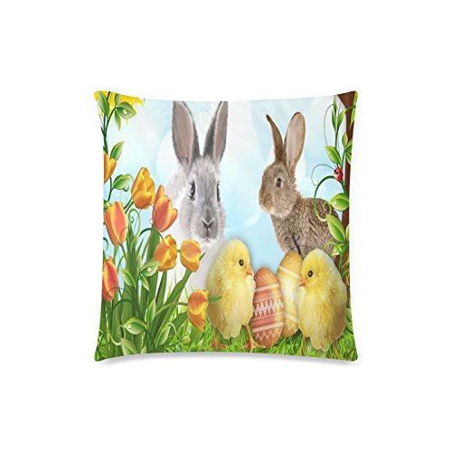 Happy Easter Day Bunny Chickens Eggs Rectangle Sofa Home Decorative Throw Pillow Case Cushion Cover Cotton Polyester Twin Side Printing 18 x 18 inches (Easter Pillows Target)
