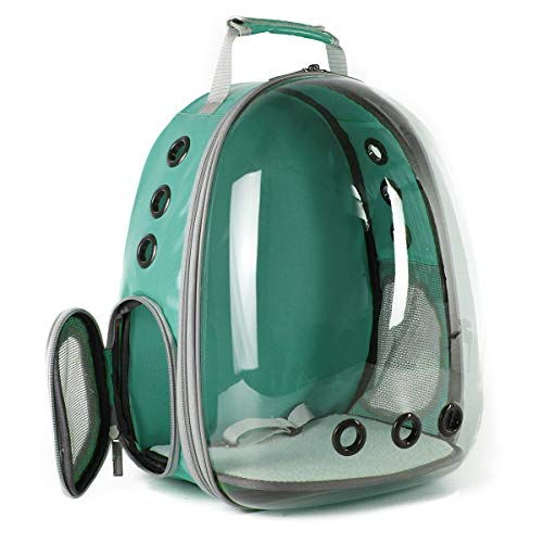 Hcupet Clear Cat Backpack, Airline Approved Space Capsule Cat Transparent Carrying & Holding Outdoor Backpack - Green