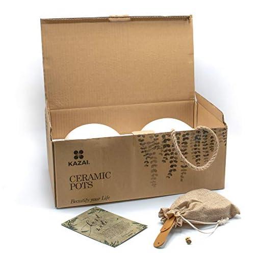 Kazai.® | Set 2 vasi da Parete in Ceramica Bianca | Opaco