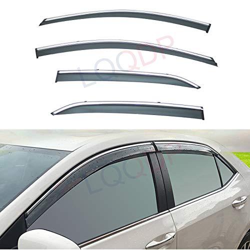 LQQDP 4pcs Smoke Tint With Chrome Trim Outside Mount Tape On/Clip On Style PVC Sun Rain Guard Vent Shade Window Visors Fit 14-18 Toyota Corolla