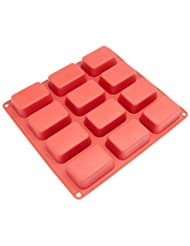 Freshware CB-105RD 12-Cavity Petite Silicone Mold for Soap, B...