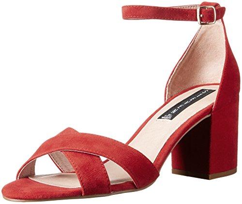 STEVEN by Steve Madden Women Voomme Dress Sandal Red Suede