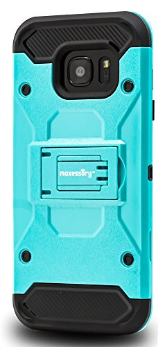 Samsung Galaxy S7 Edge Case, Maxessory [Pathfinder] Heavy-Duty Rugged Protector Armor Cover w/ Shock-Absorbing Durable Cushion Shell + Kickstand View-Mode Teal Black For Samsung Galaxy S7 Edge (Rubberized Hardback Case Cover)