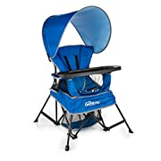 Baby Delight Go With Me Chair | Indoor/Outdoor Chair with Sun Canopy | Blue | Portable Chair converts to 3 child growth stages: Sitting, Standing and Big Kid | 3 Months to 75 lbs | Weather Resistant