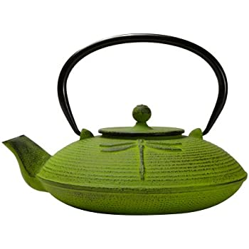 Primula Cast Iron Teapot | Green Dragonfly Design w/Stainless Steel Infuser, 26 oz
