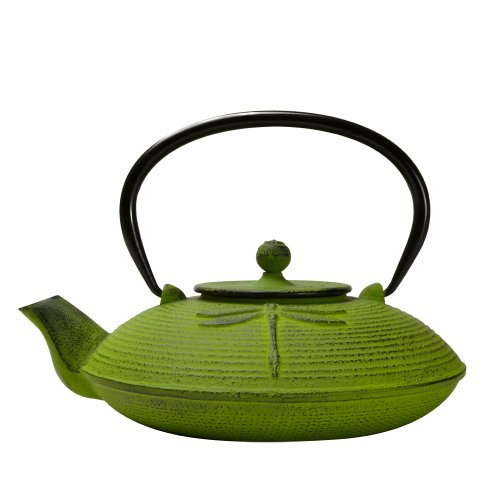Teapot Green Lid (Primula Cast Iron Teapot | Green Dragonfly Design w/Stainless Steel Infuser, 26 oz)