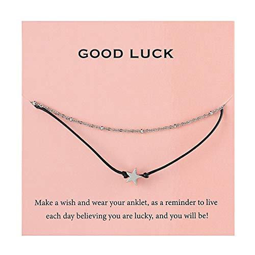 (Augonfever Dainty Silver Star Beads Anklet for Teen Girls Women Beaded Chain Ankle Bracelets Set)