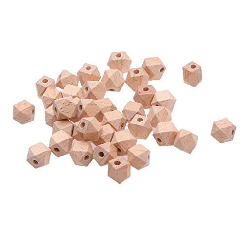 SM SunniMix 30-Pack 12mm Unfinished Faceted Wood Beads Natural Geometric Spacer Loose Beads for DIY Jewelry Making Crafts Projects, Tree Ornaments, Wedding Decor