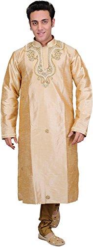 Exotic India Golden-Beige Wedding Kurta Pajama with Fau Size 40 by Exotic India