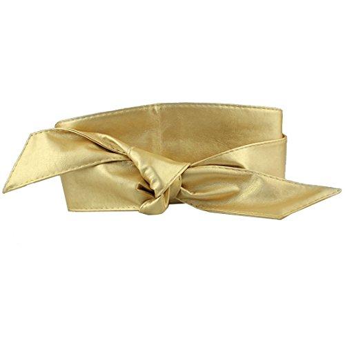 Neevas Women PU Leather Soft Self Tie Bowknot Band Wrap Around Sash Obi Belt Waistband ()