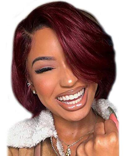 Hexuan Hair 1B Burgundy 1b 99j Ombre Hair Wig Bob Wigs Lace Front Human Hair Wigs with Baby Hair Straight Short Brazilian Remy Hair wigs(10