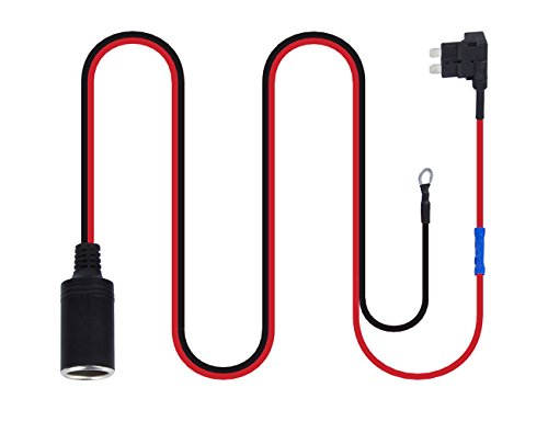 HOMEIDOL 1set 1M Car Cigarette Cigar Lighter DC 12V Extension Standard Fuse Tap Holder Lead with 7 pcs Cable Ties and 7 pcs Fuses (Cigarette Lighter Fuse)