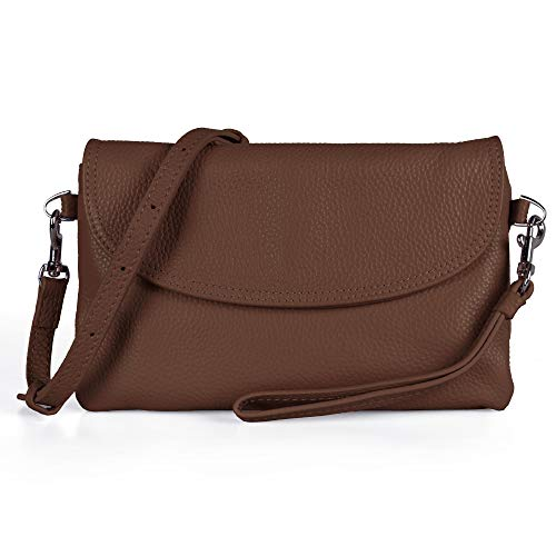 - Befen Full Grain Leather Wristlet Clutch Crossbody Phone Wallet, Mini Cross Body Purse with Shoulder Strap/Wrist Strap/Card Slots - Cognac Brown