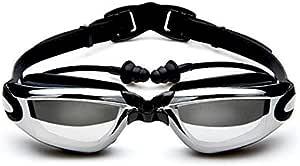 Emfil Adult Swimming Goggles with Earplugs Shield Anti-Fog UV Protection High-definition Black