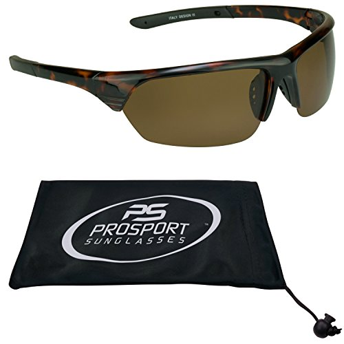 TAC Polarized Sunglasses with half frames and brown lenses for fishing, boating, cycling, motorcycle riding, running and driving. Free Microfiber Cleaning Case.