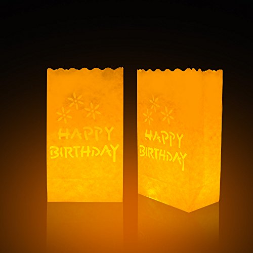 ewinever 10 Packs Luminary Candle Bags,Paper Lantern,Candle Led Tea Light Bags,Flame Resistant Paper for BBQ Party Wedding Reception Party and Event Decor (HappyBirthday)