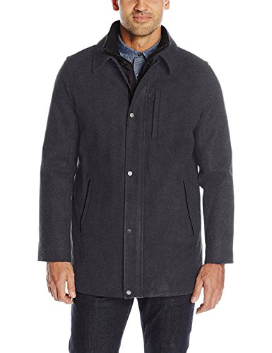 Calvin Klein Men's Wool Carcoat, Charcoal, Large -