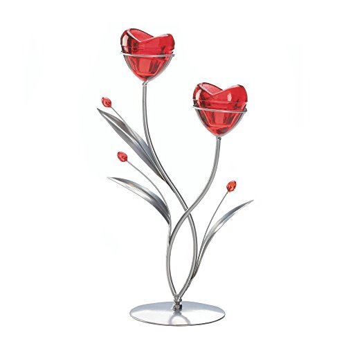 Flowers Candle Holders, Rose Colored Decorative Glass Candle Holder Decor by Gallery of Light