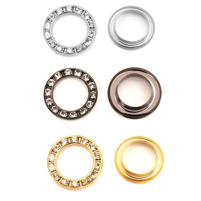 Maslin 100sets/lot 12/15/17/22mm Metal Brass Rhinestone Eyelets Glass Diamond Grommets Christmas Decoration Knit Shoe Accessories - (Color: Multi-Colored, Size: 15mm)