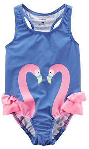Carter's Big Girls' One Piece Swimsuit, Purple Flamingo, 6-6X - Girls 6 6x Swimsuit