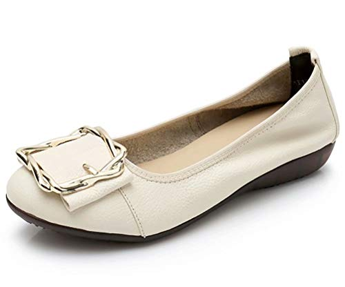 Women's Genuine Leather Comfort Ballet Flats Slip On Dress Shoes US Size 7.5 C-Beige - Genuine Leather Shoes