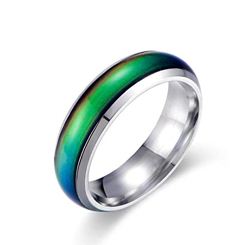 Mood Rings Color - Ello Elli 6MM Comfort Fit Stainless-Steel Color Changing Mood Ring (Silver, 10.5)