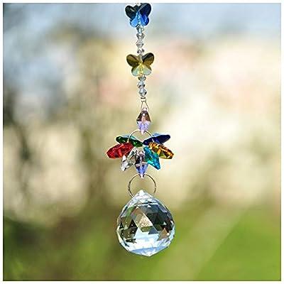 H&D Handmade 30mm Crystal Ball Chandelier Prisms Butterfly Ornaments Hanging Suncatcher (Clear) : Garden & Outdoor