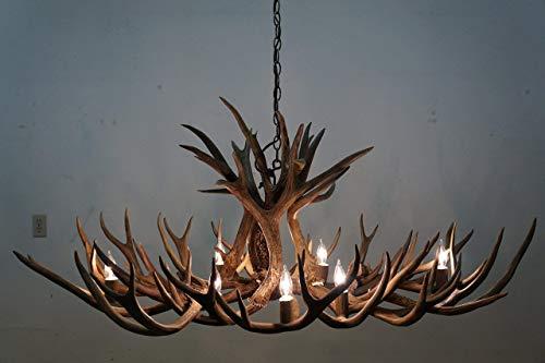 Real Natural Shed Mule Deer Antler Chandelier, Oval shape W/ 8 Lights. Elegant Handmade, Rustic Antler Art. Real Elk antler Covers.