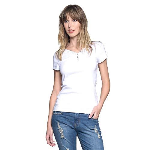 Camiseta Luigi Bertolli Feminina T-Shirt Básica Botões Branco