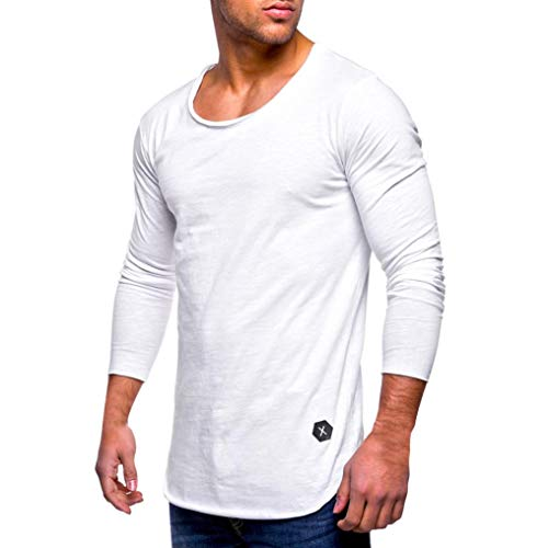 Price comparison product image Pervobs Long Sleeve Shirts,  Clearance! Men Casual Loose Long Sleeve Tee Shirt Fashion Slim Fit O Neck Muscle Tops Blouse (M,  White)