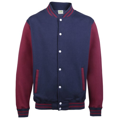 Mens Burgundy Oxfords - Awdis Unisex Varsity Jacket (M) (Oxford Navy/Burgundy)