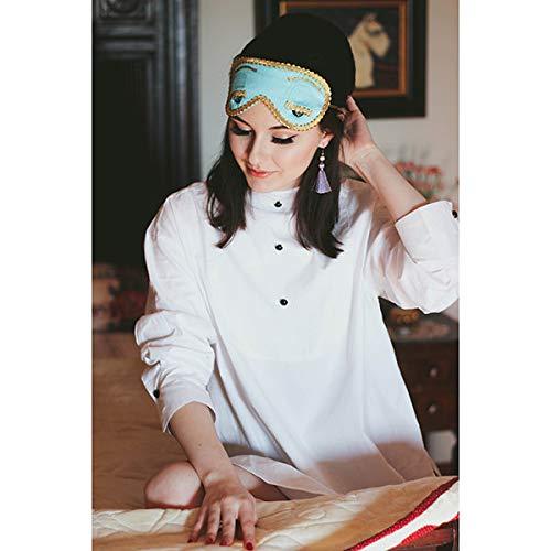 M, Senza Confezione Regalo Utopiat Camicia da Notte in Cotone Agrifoglio con Maschera per Gli Occhi e Orecchini con Nappe Ispirati allo Stile Audrey Hepburn