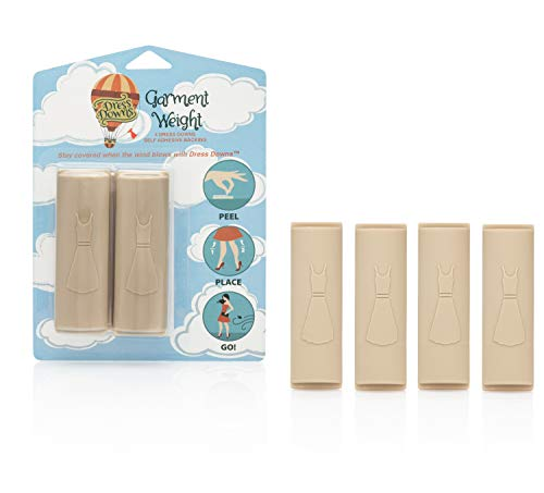 Wind Garments - Dress Downs Reusable Adhesive Lingerie Weights, Beige (4 pieces with placeholder)