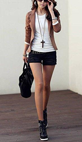 Manteau Blouson Femme Coupe YOSICIL Style OL Costume Chic Veste Cintr Outwear Printemps Casual Petit Courte FdpwqfBz