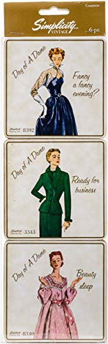 Simplicity Vintage Fashion 1950's ''Day of a Dame'' Cork Coaster Set, 6pc, 4'' x 4'']()