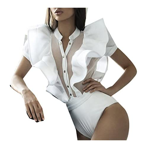 ainr Women's Ruffle Sleeve Button Front Mesh Leotard Bodysuit Tops for sale
