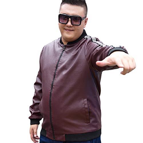 RkBaoye Men Plus Velvet Leisure Bomber Jacket Oversize Stand Up Collar Red