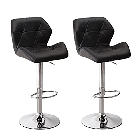 Adeco Hydraulic Adjustable Height Barstool Stool Chairs, Chrome Finished Base, Black (Set of Two) - Chair Chrome Base
