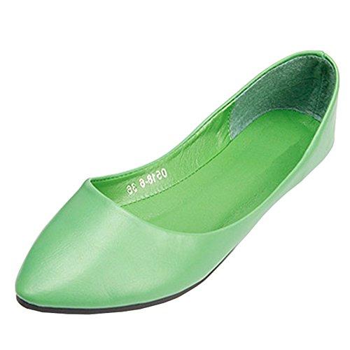 Fereshte Vrouwen Comfort Kunstleer Puntschoen Platte Pump Ballet Schoenen No.261 Groen