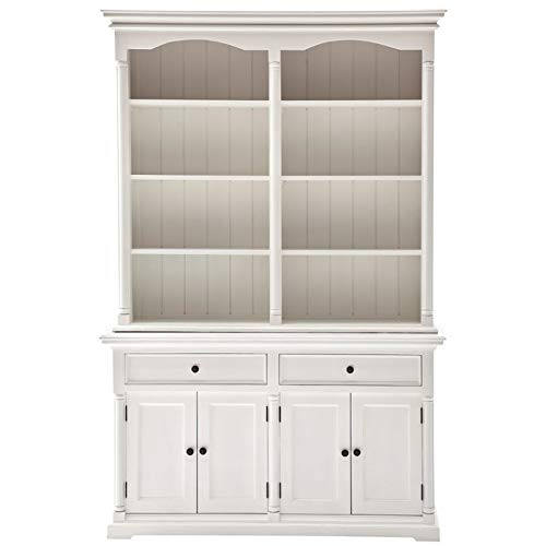 (NovaSolo Provence Pure White Mahogany Wood Double Hutch With Storage, 8 Shelves And 2 Drawers)