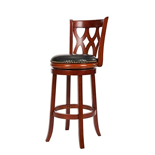 (Safavieh Home Collection Lancaster Light Cherry and Black Leather Swivel 29-inch Bar Stool)