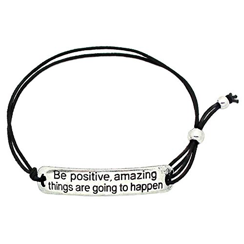KIS-Jewelry Be Positive, Amazing Things are Going to Happen' Inspirational Stretch Bracelet - One Size Fits All Motivational Bracelet with Engraved Plaque & Black Elastic