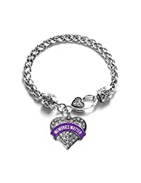 Inspired Silver Memories Matter Alzheimer's Awareness Pave Heart Clear Cystal Charm Bracelet