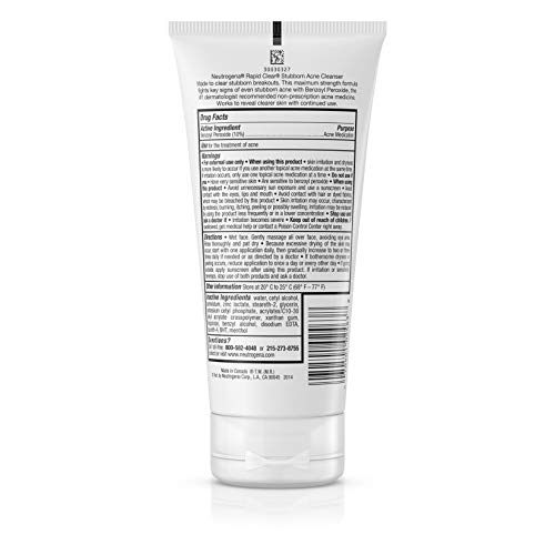 Neutrogena Rapid Clear Stubborn Acne Face Wash with 10% Benzoyl Peroxide Acne Treatment Medicine, Daily Facial Cleanser to Reduce Size and Redness of Acne, Benzoyl Peroxide Acne Face Wash, 5 Fl Oz