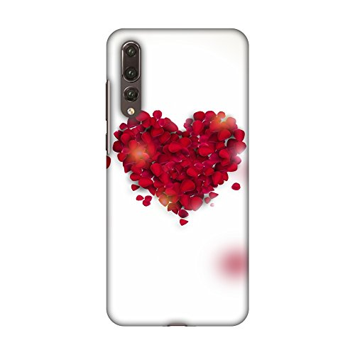AMZER Slim Fit Handcrafted Designer Printed Snap On Hard Shell Case Back Cover with Screen Cleaning Kit Skin for Huawei P20 Pro - Rose Heart HD Color, Ultra Light Back - Light Rose Heart