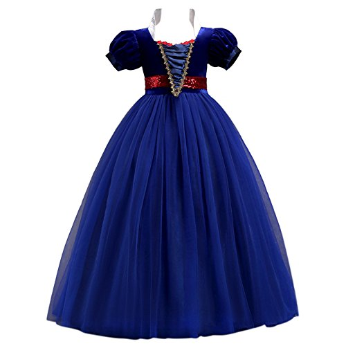 OBEEII Girls' Snow White Princess Costume Cartoon Fancy Dress up Party Cosplay Halloween Dance Floor Length Tutu Evening Gowns